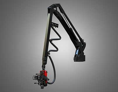 Forwarder Crane System with Harvester Head 3D model