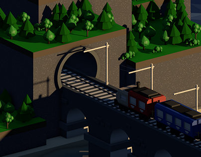 Low Poly Train Animation