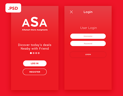 Homescreen & Login - Free PSD
