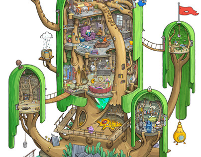Exploring Land of Ooo. Inside the Tree Fort.