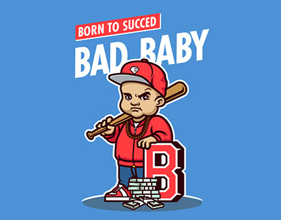 Bad baby character. Mascot design