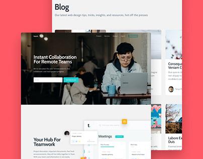Collaboration Website Landing Page & Blog Concept