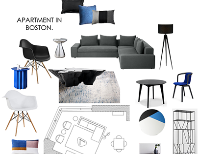 Apartment in Boston. Furniture layout and items