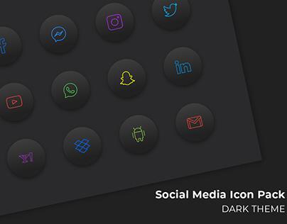 Social Media Icon Pack (Dark Theme)