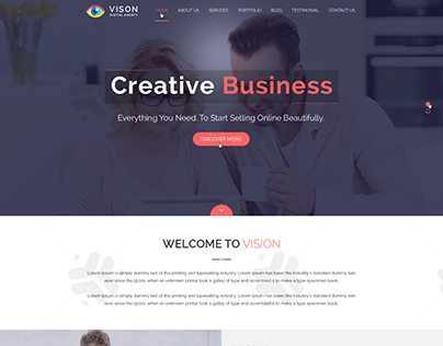 Vision Digital Agency – Multipurpose One Page PSD Temp