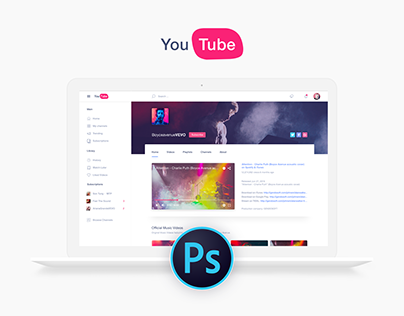YouTube Redesign | Free PSD Download