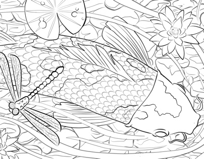Fresco: Three panel coloring page