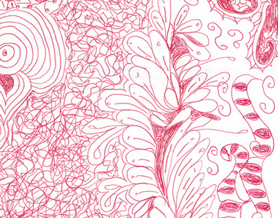 Pen and ink flower and patterns doodles