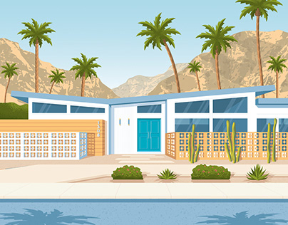 Palm Springs California Travel Poster City Illustration
