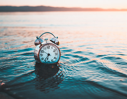 Alarm clock on the sea, stock photography photoset