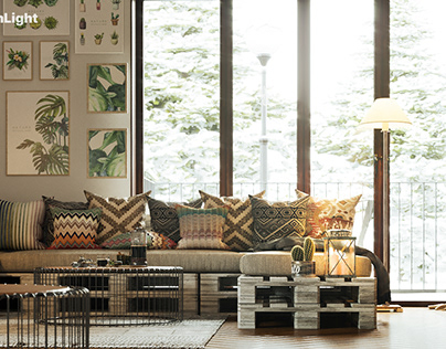 Interior visualization of a private living room