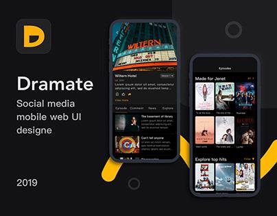 Dramate Mobile Web UI Design