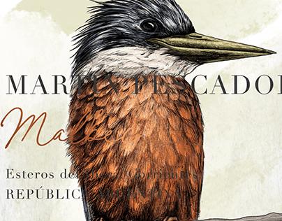 MARTÍN PESCADOR - Illustration label process