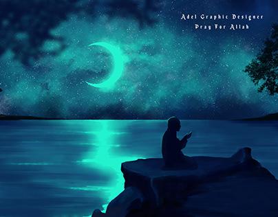 Pray for Allah Digital Painter illustration