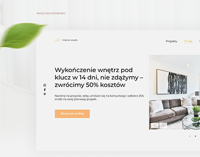 Landing page for interior design studio