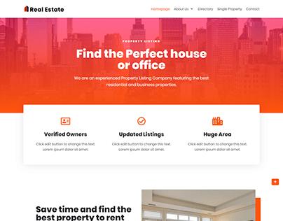 Real Estate WordPress website, landing page