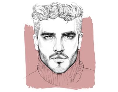 Male portrait illustrations.