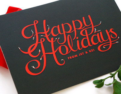Hand Lettered Holiday Postcard