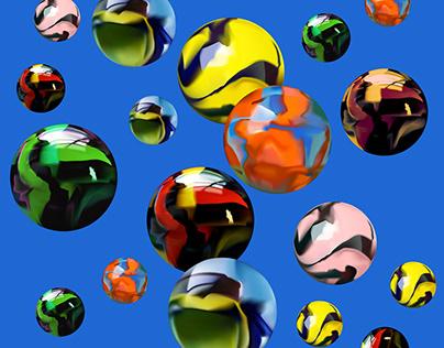 Gradient Mesh / textile design / Мраморные шарики