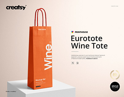 Eurotote Wine Tote Bag Mockup Set
