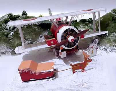 Emergency Landing - Mini Diorama Santa Biplane