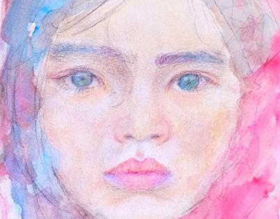 Desenho em aquarela e técnica mista