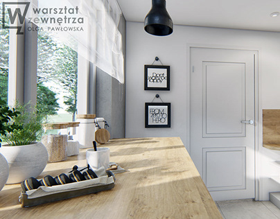 Kitchen with black lamp