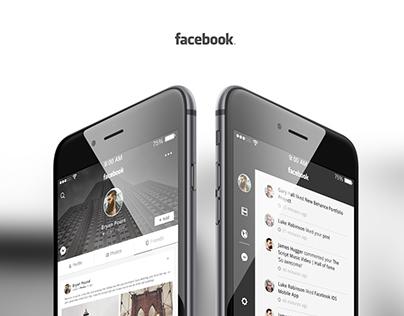 Black Facebook UI Concept