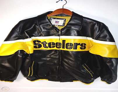 Mens Steelers Nfl Black Leather Jacket