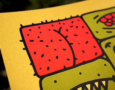 ''Grid'' silkscreen print poster
