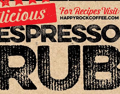 Espresso Rub Label Design for Happyrock Coffee Co.