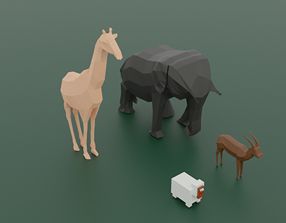 3D Blender Graphics - Low Poly Animals