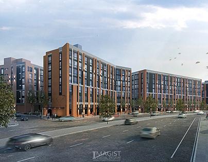 Urban development architectural rendering
