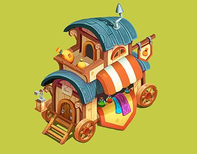 Casual isometric houses