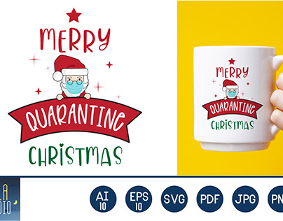 Merry Quarantine Christmas Santa mask Gnomes Graphic