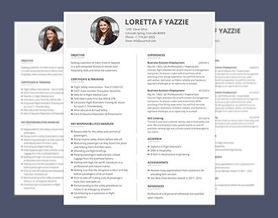 Simple Resume Format for Cabin Crew Freshers