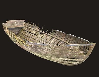 Destroyed wooden boat Low-poly 3D model