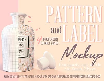 Pattern & Label Porcelain Bottle Mockup