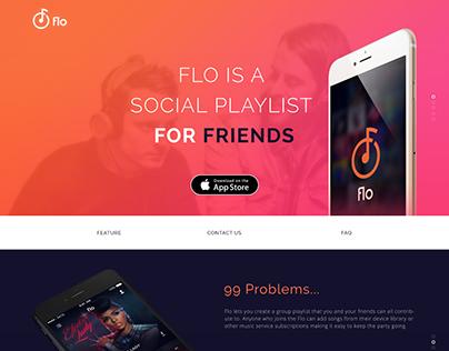 Flo Music App marketing site design