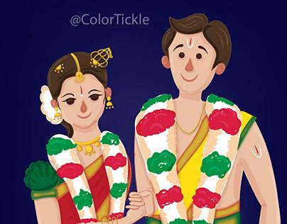 Illustrated Tambrahm - Iyengar style wedding invitation