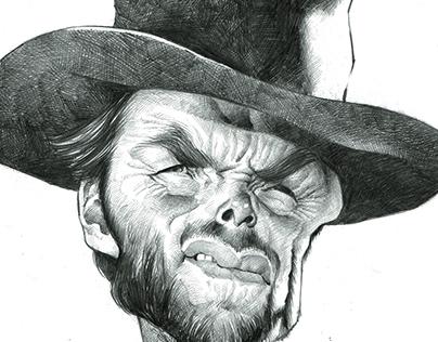 Clint Eastwood pencil caricature