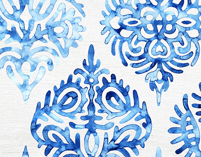 Set of watercolor seamless patterns.