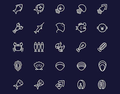 25 Vector Line Seafood Icons