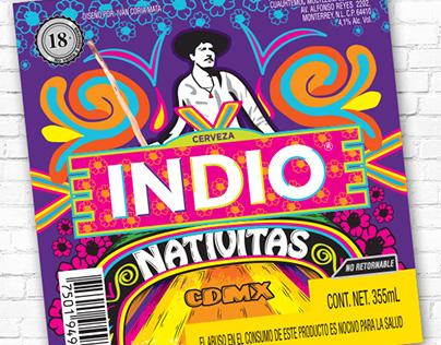 Etiqueta Cerveza INDIO Barrios Nativitas Xochimilco