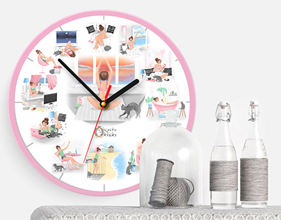 "Illustrations for wall clock ""Perfect weekend for girl"""