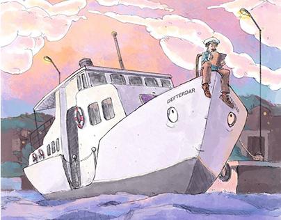 Childrens Book illustation - Çok uzak bir deniz 2020
