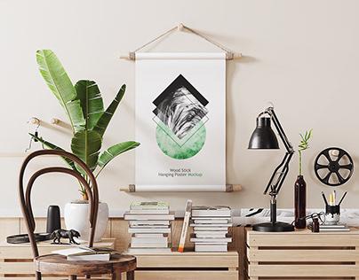 Wood Stick Hanging Poster Mockup