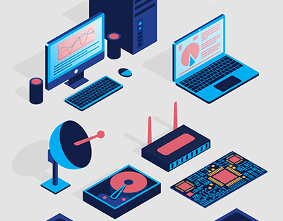 Set of isometric icons on a computer theme