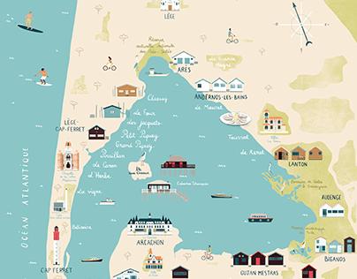 Carte illustrée du Bassin d'Arcachon