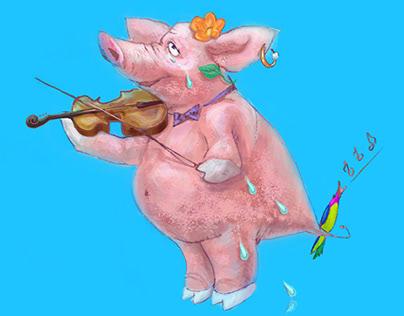 Digital art/ Illustration. Pig playing the violin